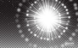 Effect White Rays Light Flare abstract illustration. Realistic Design Elements Isolated Transparent Background. Magic concept. Vector Effect White Rays of Light Royalty Free Stock Photos
