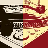 Effected Turntables. Image of a turntable ized in two colors Royalty Free Stock Photos