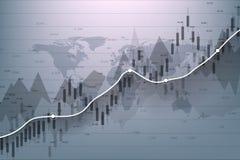 Effectenbeurs en uitwisseling De grafiekgrafiek van de bedrijfskaarsstok van effectenbeursinvestering handel Effectenbeursgegeven stock illustratie