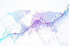 Effectenbeurs en uitwisseling De grafiekgrafiek van de kaarsstok van effectenbeursinvestering handel Effectenbeursgegevens Stijge stock illustratie