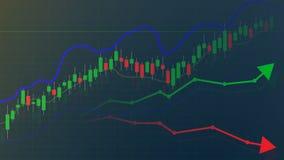 Effectenbeurs of forex handelgrafiek en grafiek, markt en financieel vector illustratie