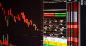 Effectenbeurs of forex handelgrafiek en grafiek voor technologievin stock afbeeldingen