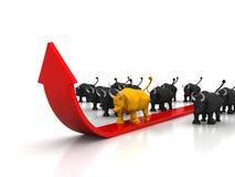 Effectenbeurs het uitgaan, welvaart, oplopende markt Stock Afbeeldingen