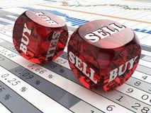 Effectenbeursconcept. Dobbel op financiële grafiek. Stock Foto