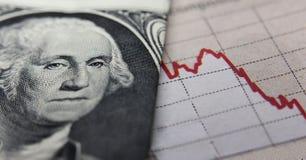 Effectenbeursgrafiek & bankbiljet Stock Afbeelding
