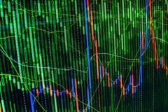 Effectenbeursgrafiek en de vertoning van de grafiekprijs Abstracte financiële achtergrondhandels kleurrijke groene, blauwe, rode  Stock Fotografie