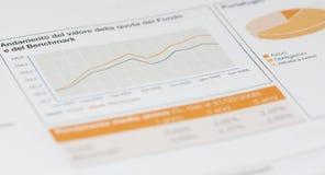 Effectenbeursgrafiek en portefeuillecirkeldiagram Stock Foto's