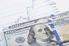 Effectenbeursgrafiek met 100 dollarsbankbiljet Royalty-vrije Stock Foto