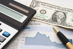 Effectenbeursgrafiek, onderaan, verliezen Stock Afbeelding