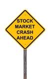 Effectenbeursneerstorting vooruit - Voorzichtigheidsteken Royalty-vrije Stock Foto's