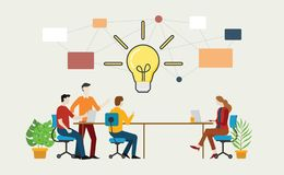 Effective brainstorming concept with team on the table discuss idea together - vector. Illustration stock illustration