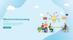 Effective brainstorming concept for website template banner design with team on the table discuss idea together - vector. Illustration vector illustration