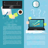 Effective business. Planning sales charts financial analyst graphics laptop process works vector banners Stock Images