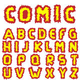 Effective Comic alphabet. Effective font Comic alphabet Fire letters Vector illustration Stock Photography