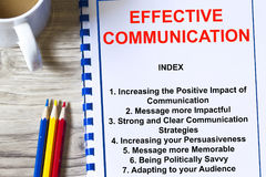 Effective communication concept-. Complete with topics on a cover sheet Royalty Free Stock Photos