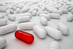Effective drug and lots of generic pills Royalty Free Stock Image