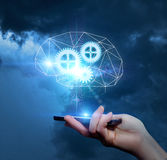 Effective electronic brain. Effective electronic brain to help the business royalty free stock photo