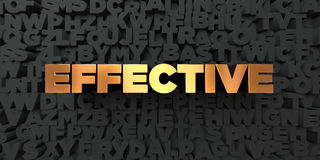 Effective - Gold text on black background - 3D rendered royalty free stock picture Royalty Free Stock Photos