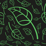 Effective Green Leaves Seamless Pattern. Vector Illustration Royalty Free Stock Images