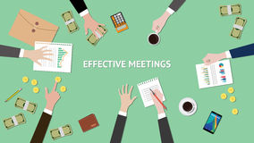 Effective meetings illustration with paperworks, money and folder document on top of table Stock Image