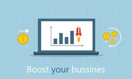 Effective promotion. Turbo SEO boost. Flat vector illustration. With a diagram and a rocket on the laptop Stock Images
