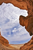 Effective slot-hole canyon in desert Stock Images