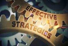 Effective Strategies Concept. Golden Gears. 3D Illustration. Royalty Free Stock Photos