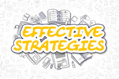 Effective Strategies - Doodle Yellow Text. Business Concept. Royalty Free Stock Photography