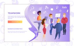 Teamwork in Business Web Banner Vector Template royalty free illustration