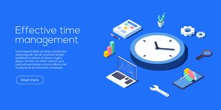 Effective time management isometric vector illustration. Task pr. Ioritizing organization for effective productivity. Job schedule optimization concept vector illustration