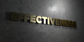 Effectiveness - Gold text on black background - 3D rendered royalty free stock picture Stock Photos