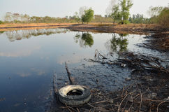 Effects Environmental from Water contaminated with Chemicals and oil. This wastewater occur from disposal of Industrial waste and old oil to natural water Stock Photography