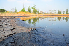 Effects Environmental from Water contaminated with Chemicals and oil. This wastewater occur from disposal of Industrial waste and old oil to natural water Stock Images