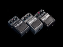 Effects Guitar Pedals. On black background Stock Photos