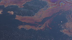 Effects nature from water contaminated with chemicals and oil stock video