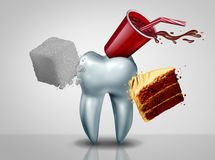 Effects Of Sugar On Teeth. As an oral care risk as a dentistry tooth health as sweet food as an acid causing bacteria and molar cavity or cavities decay with 3D stock illustration