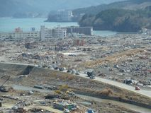 The effects of the tsunami in Japan. Destruction after the most powerful tsunami in 2011 royalty free stock photography