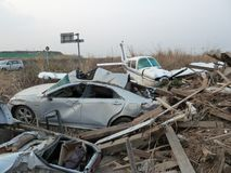 The effects of the tsunami in Japan. Disaster occurred in Japan in 2011 Stock Photography