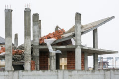 Effects of use of unreliable supporting structures during the construction of the house Royalty Free Stock Image