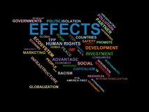 EFFECTS - word cloud wordcloud - terms from the globalization, economy and policy environment. Wordcloud with series of terms from the globalization, economy and Royalty Free Stock Photography