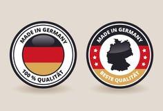 Effectué dans des étiquettes de qualité de l'Allemagne Photos stock