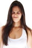 effectuer de cheveu de grimace de fille long photo stock