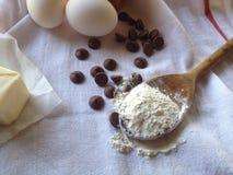 Effectuer des biscuits de puce de chocolat Images libres de droits