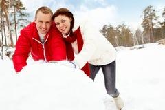 Effectuer le bonhomme de neige Photo stock