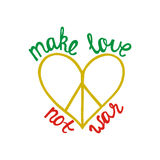 Effectuez l'amour, pas guerre Citation inspirée au sujet de paix Photo libre de droits