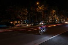 Effekt av den genomskinliga motorcykeln Linje effekt Arkivfoto