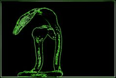 Effekt av en neonluminiscens för ett foto tecknande green fotografering för bildbyråer