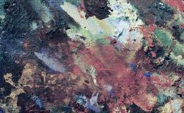 Effekt der Ölfarbebeschaffenheit auf Segeltuch, vibrierendes Acryl auf benutzter Künstler ` s Palette Lizenzfreies Stockbild