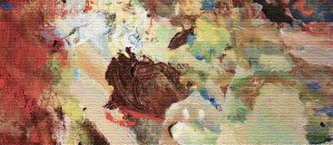 Effekt der Ölfarbebeschaffenheit auf Segeltuch, vibrierendes Acryl auf benutzter Künstler ` s Palette Stockbild