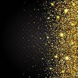Effekt des Fliegens von der Seite des Goldglanzluxusdesignreichhintergrundes Dunkler Hintergrund Stardust-Funken Stockfotos